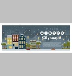 Hello winter cityscape background 4 vector