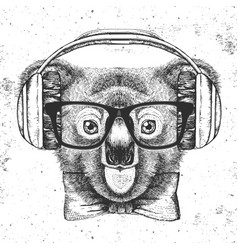 Hipster animal koala hand drawing muzzle of koala vector
