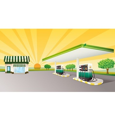 house and gas station vector image