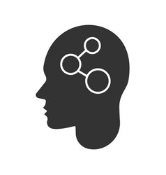 human head with network sign inside glyph icon vector image
