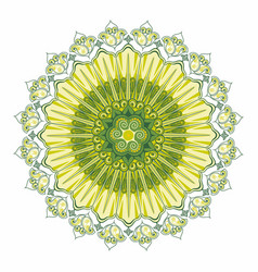 indian ornament circular rosette color green vector image