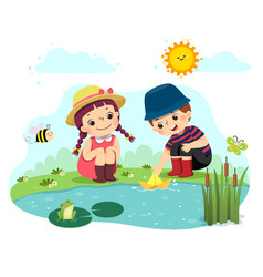 Kids playing paper boat in pond vector