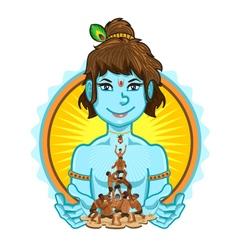 Krishna Janmashtami Dahi Handi vector image