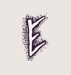 Letter e rune logo on dots background vector