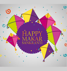 Makar sankranti ceremony emblem with kites vector