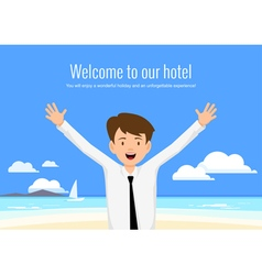 male manager hotel welcomes its guests vector image