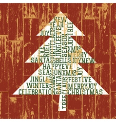 merry christmas tree words composed vector image