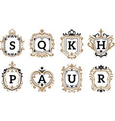 Monogram trendy vintage royal ornament vector