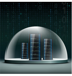 Network servers under a glass dome security vector