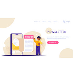 Newsletter concept man opened news email vector