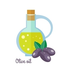 Olive Oil in Bottle with Black Olives Flat Design vector image
