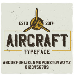 Original label typeface named aircraft vector