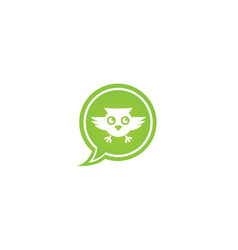 Owl open eyes and fly in a chat icon for logo vector