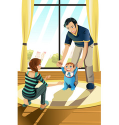 parents with their baby vector image