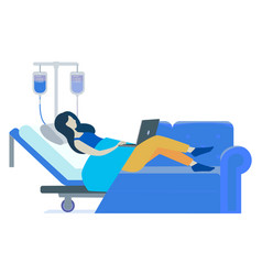 Patient laying on bed woman getting hospital help vector