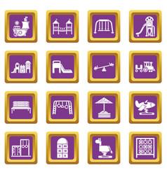 playground equipment icons set purple square vector image