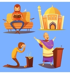 Religion Cartoon Icons Set vector image