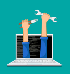 Repair service and maintenance of computers vector