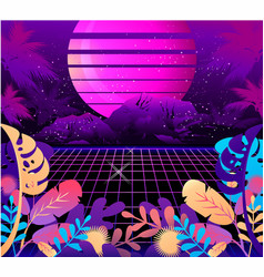 Retro wave synth vector