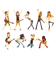 Rock artists characters set young musicians with vector