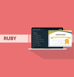 ruby programming language paper certification vector image