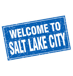 Salt lake city blue square grunge welcome to stamp vector
