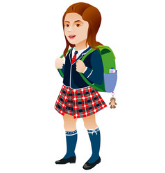 schoolgirl with backpack on a white background vector image