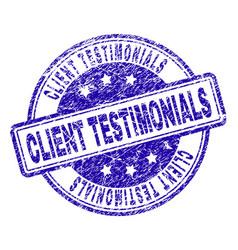 Scratched textured client testimonials stamp seal vector