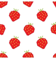 Seamless background of pixel-art strawberry vector image