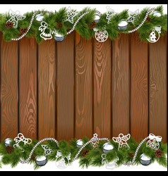 Seamless Christmas Board with Silver Decorations vector