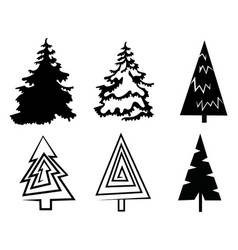Set christmas trees collection stylized vector