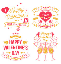 Set happy valentines day sign stamp card vector