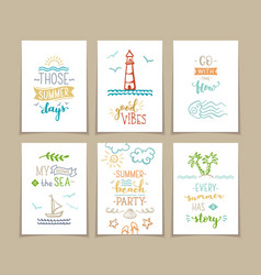 set of 6 pre-made sea ocean greeting cards vector image
