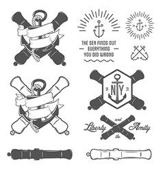 set vintage nautical labels and design elements vector image
