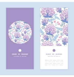 Soft purple flowers vertical round frame vector