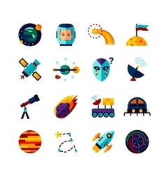 Space Symbols Flat Icons Set vector image