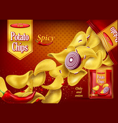Spicy potato chips on package with onion pepper vector