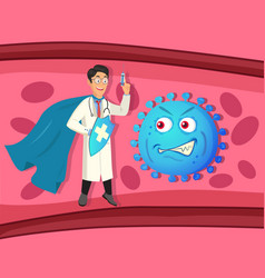 Superhero doctor with a syringe and evil virus vector