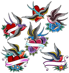 swallow tattoo set vector image