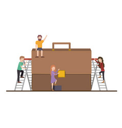 Teamwork mini people doing briefcase vector