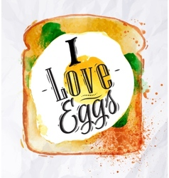 Toast with scrambled eggs vector image