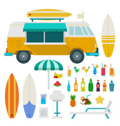 travel truck beach with drinks flat set with bus vector image