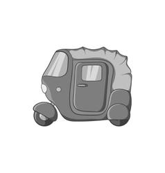 Tuk tuk taxi icon black monochrome style vector image