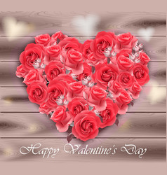 valentines day card roses heart on wood vector image