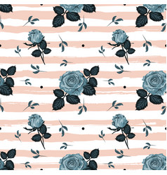 Vintage roses pattern hand-drawn blue roses vector