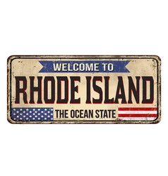 Welcome to rhode island vintage rusty metal sign vector