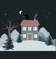 winter mountains landscape with a cat is seating vector image