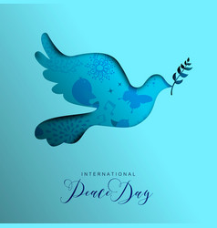 World peace day card of paper cut dove bird vector