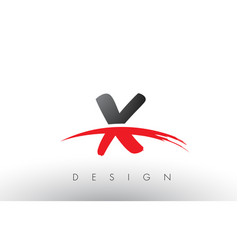 X brush logo letters with red and black swoosh vector