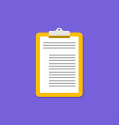 yellow clipboard icon on violet background vector image